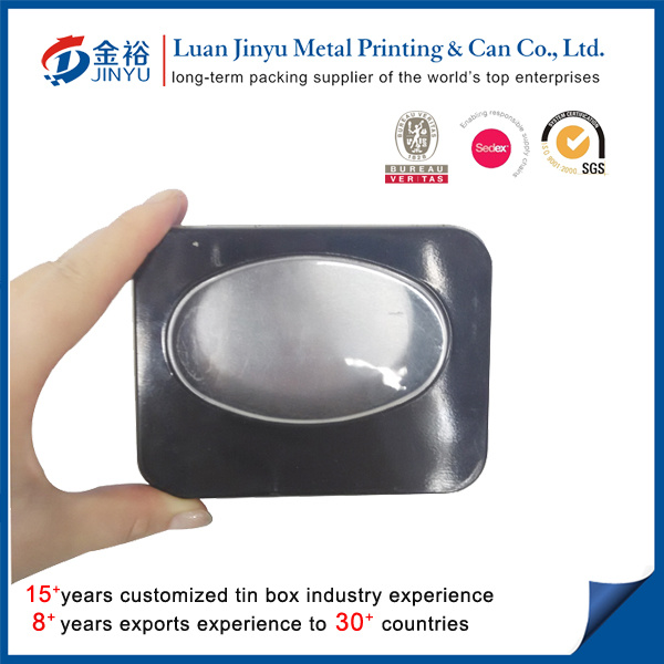 Custom Printed Metal Tin with Clear PVC Window