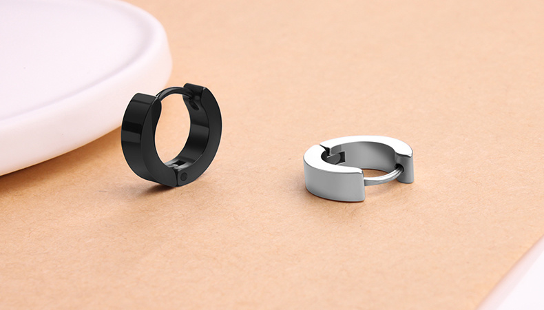 Fashion Stainless Steel Jewelry Black Hoop Earring
