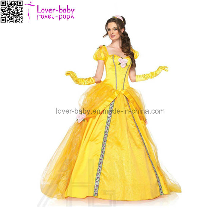 Women′s Deluxe Beauty and The Beast′s Princess Belle Ball Gown Sexy Costume Set for Halloween