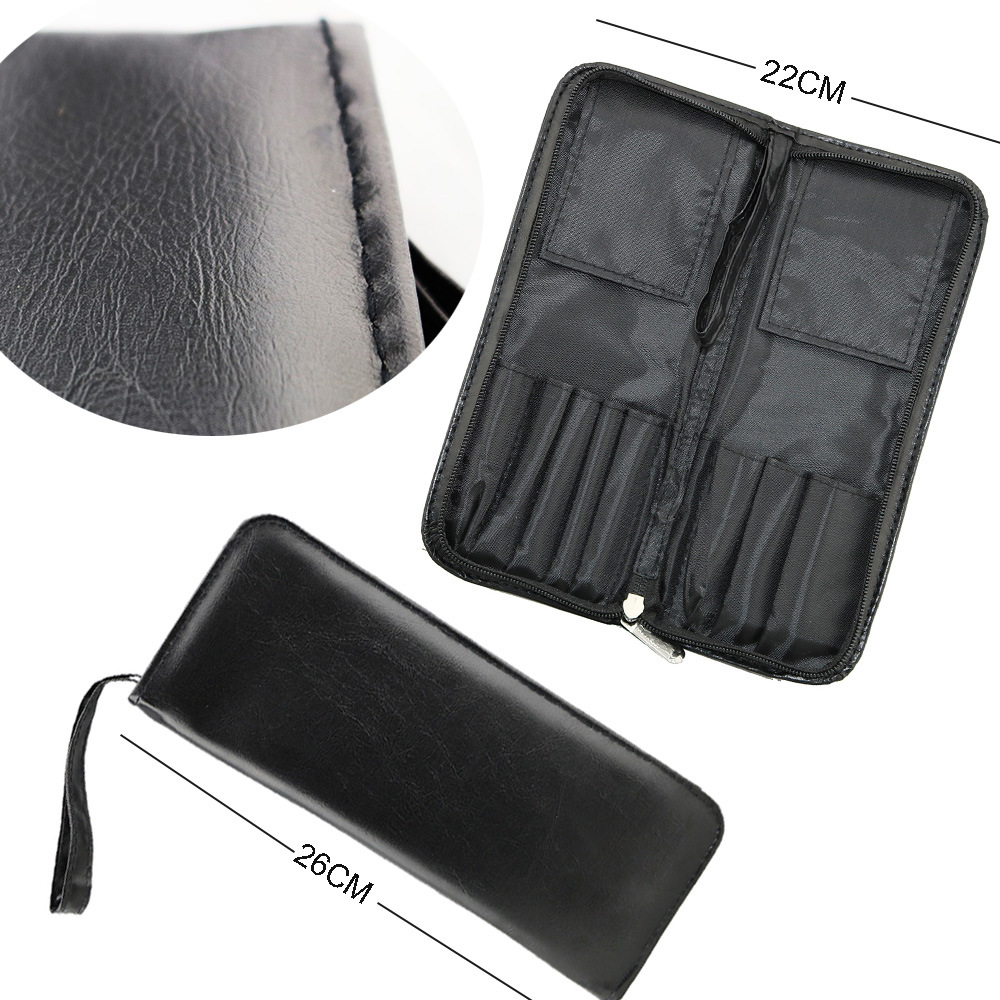 8PCS Goat Hair Black Essential Makeup Brushes Set with Bag