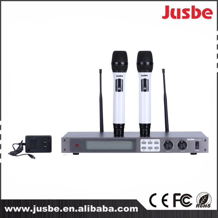 Jusbe Fk-500 UHF Professional Cardioid Handheld Wireless Microphone System for Karaoke Singing Stage