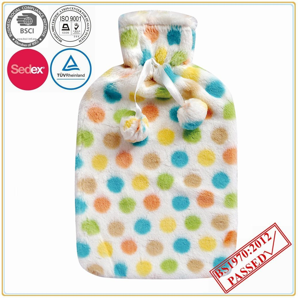 DOT Design Hot Water Bottle Cover with POM POM