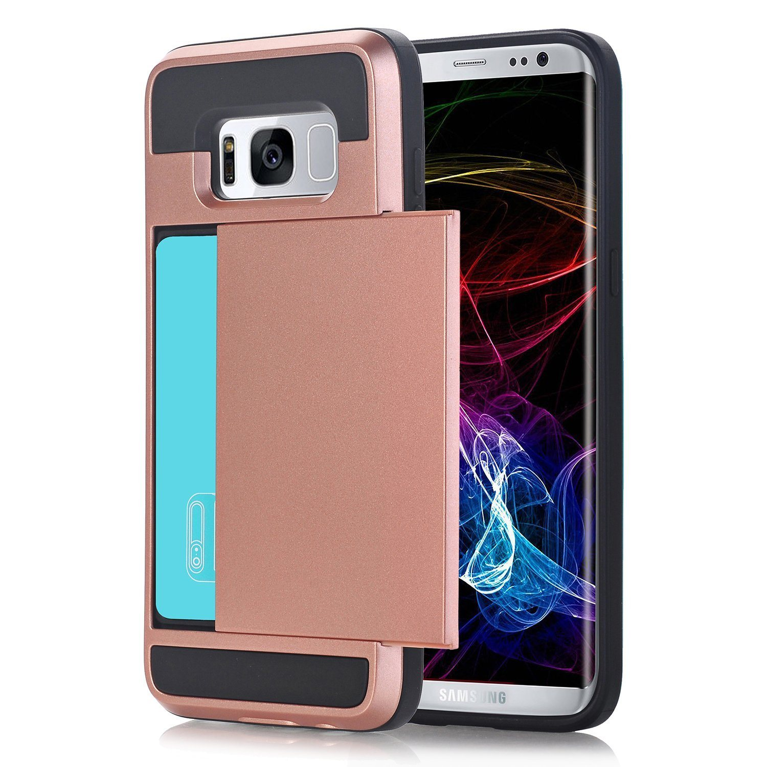 Wallet Case Card Slot Hard Shell Shock Armor Scratch-Proof Case for Galaxy S8 Plus