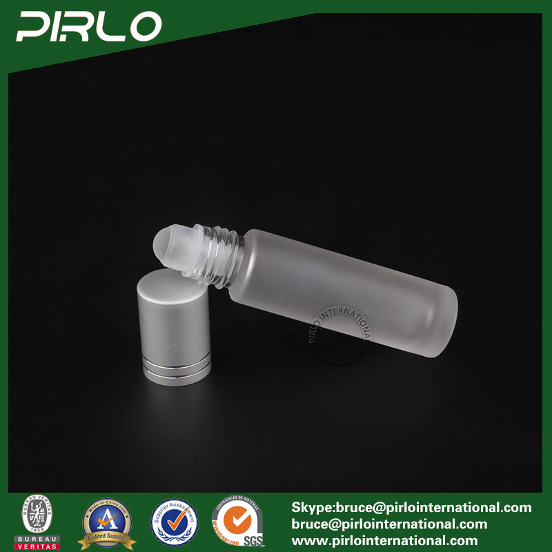 10ml Frosted Glass Roll on Bottle with Glass Roller and Metal Cap