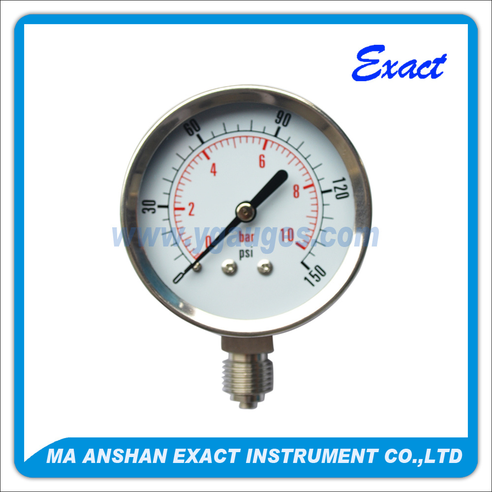 All Stainless Steel Pressure Gauge-Vacuum Air Pressure Gauge-Bourdon Tube Pressure Gauge