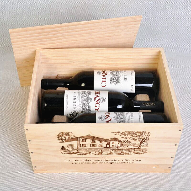 Good Quality Pine Wood Box for 6 Bottles Wine, 25 Oz. /Bottle