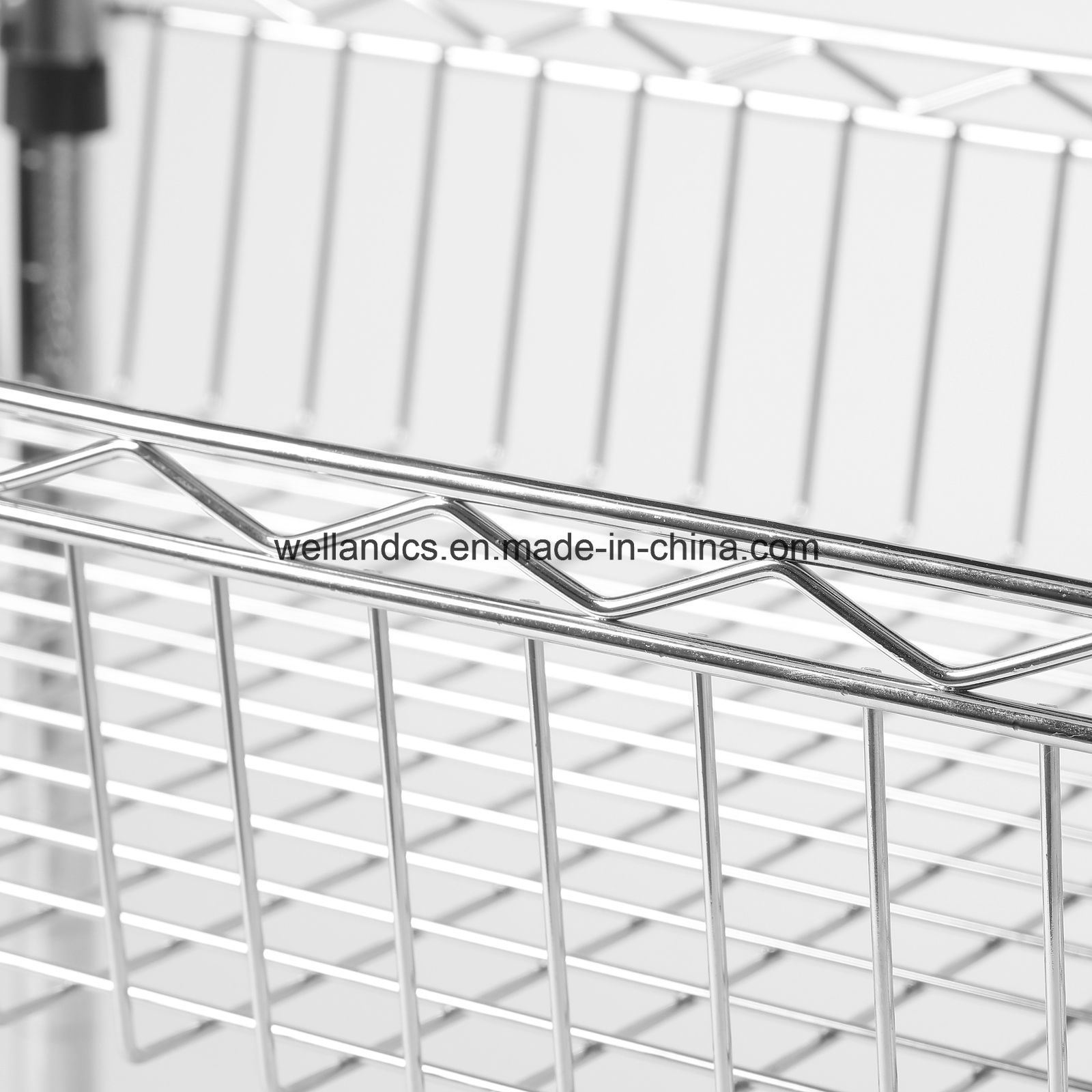 Multi-Function Chrome Wire Kitchen Trolley Basket Rack with Nylon Wheels