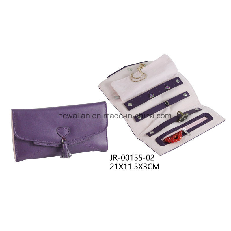 Sweet Design Fashion Purple Leather Jewelry Roll Jewelry Bag