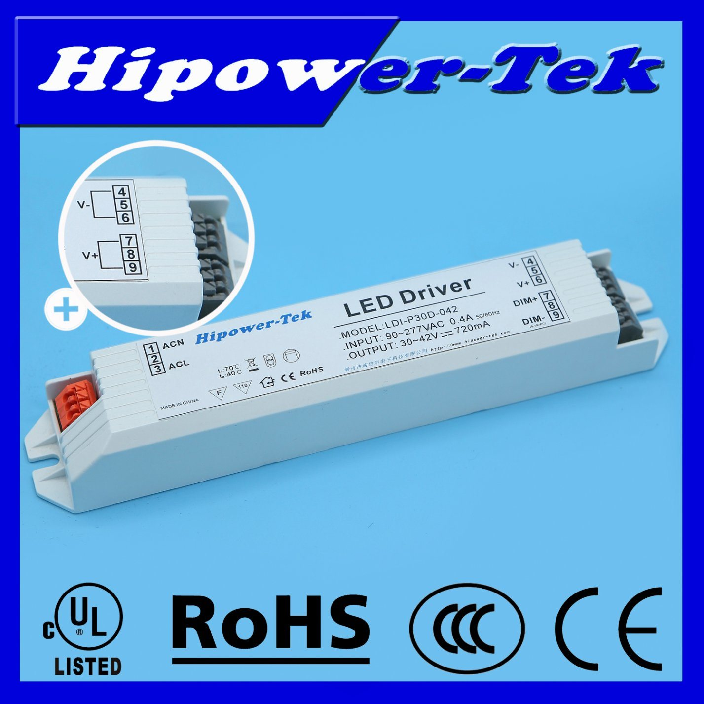 UL Listed 20W-50W Indoor 0-10V Dimming Constant Current LED Driver