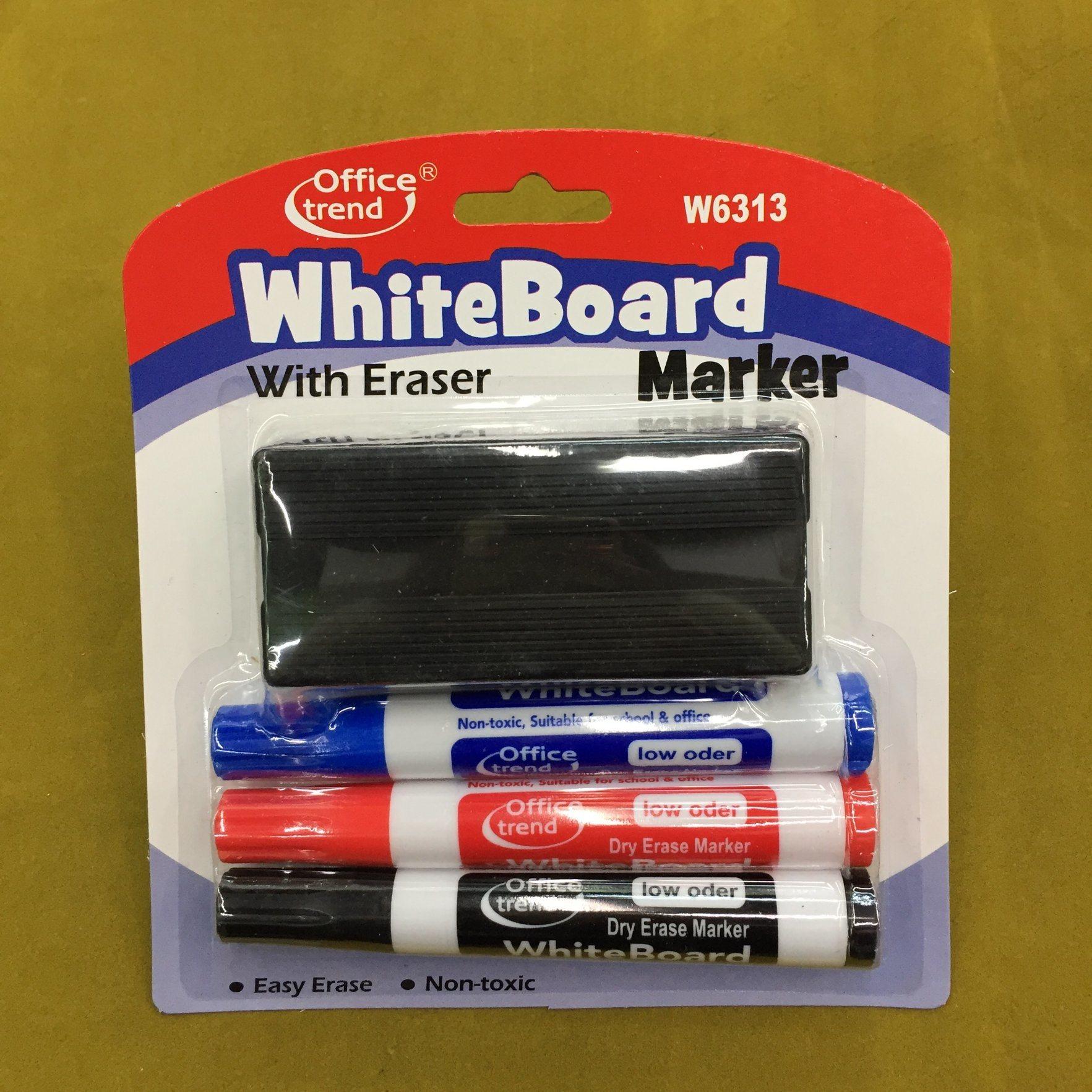 Whiteboard Marker Pen with Brush 3+1, Dry Eraser Pen