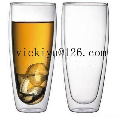 350ml Double Wall Beer Cup Heat-Resisting Glass Mug
