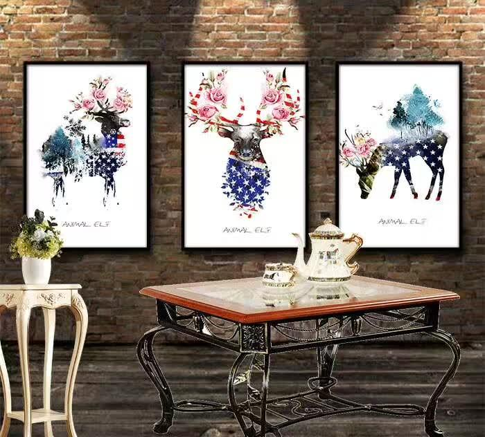 Decorative Wall Elk Painting Porch Painting Modern Minimalist Bedroom Mural Art Painting