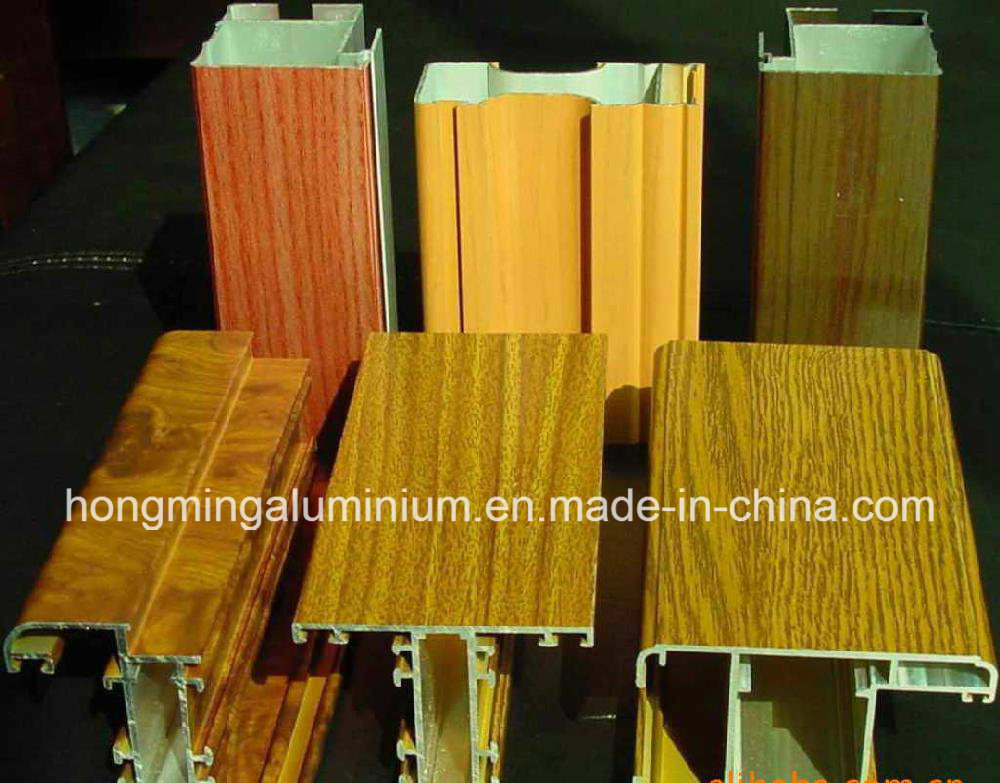 Wooden Print Windows for Aluminium Profile