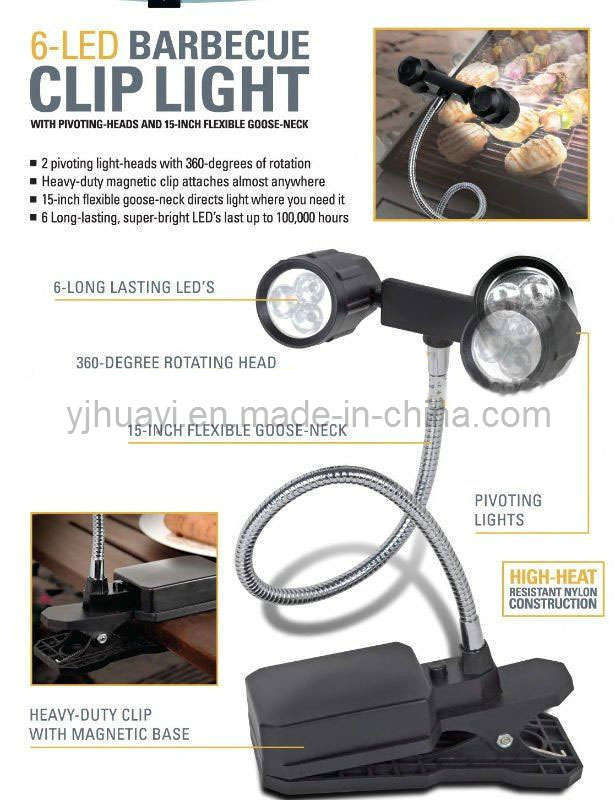 China 6 Led Bbq Clip Light Grill Light Hyba 7413