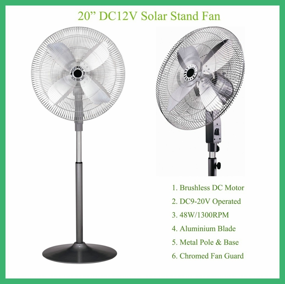 "Middle East Aluminium Blade 20"" DC12V Solar Stand Fan Battery Fan"