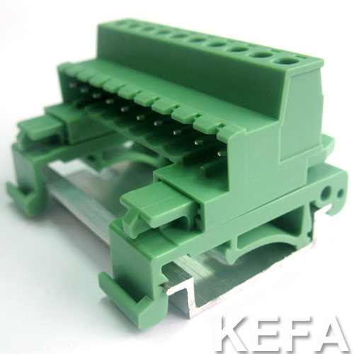 Pluggable Terminal Block Connecor with DIN Rail for 5.0mm Pin Spacing