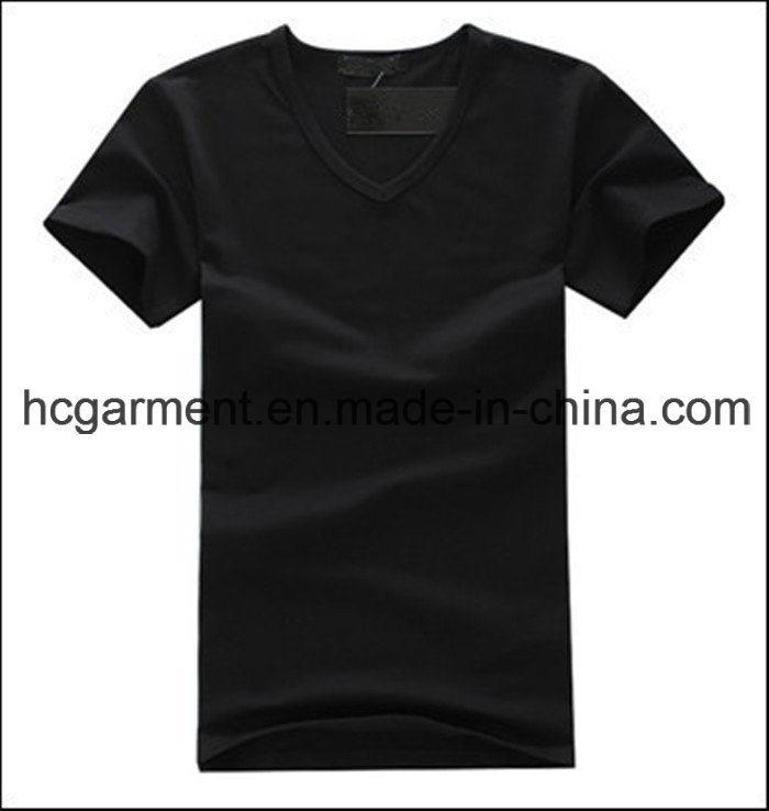 Cotton V-Neck Solid Black Color Cotton T-Shirt for Man
