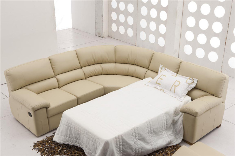 Fabric Sofa with Foldable Mattress Bed