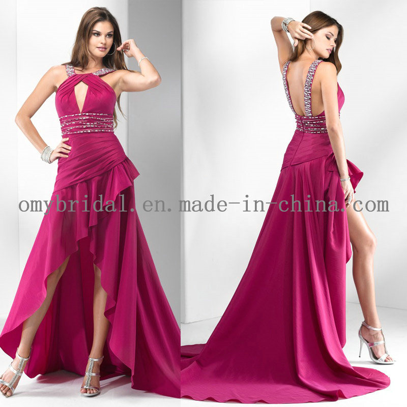 Beaded HiLo Evening Dress E009