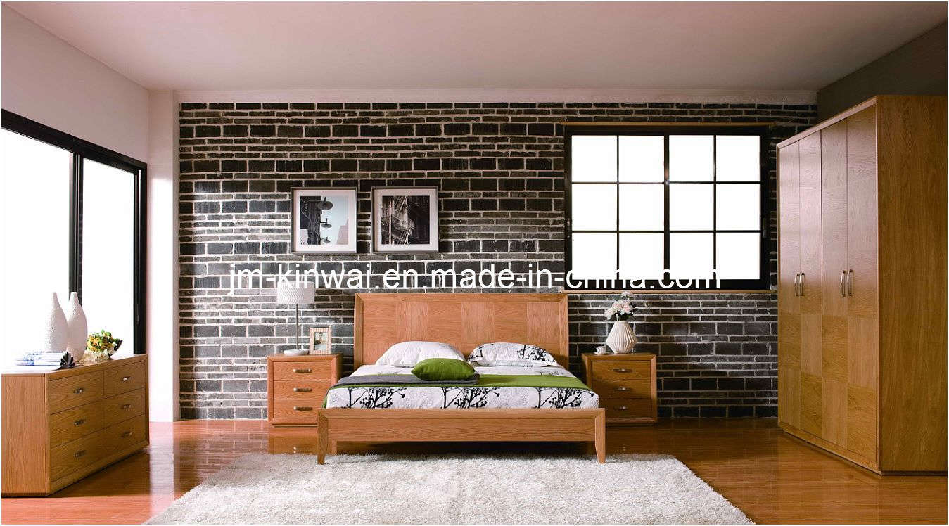 China natural oak bed bedroom furniture
