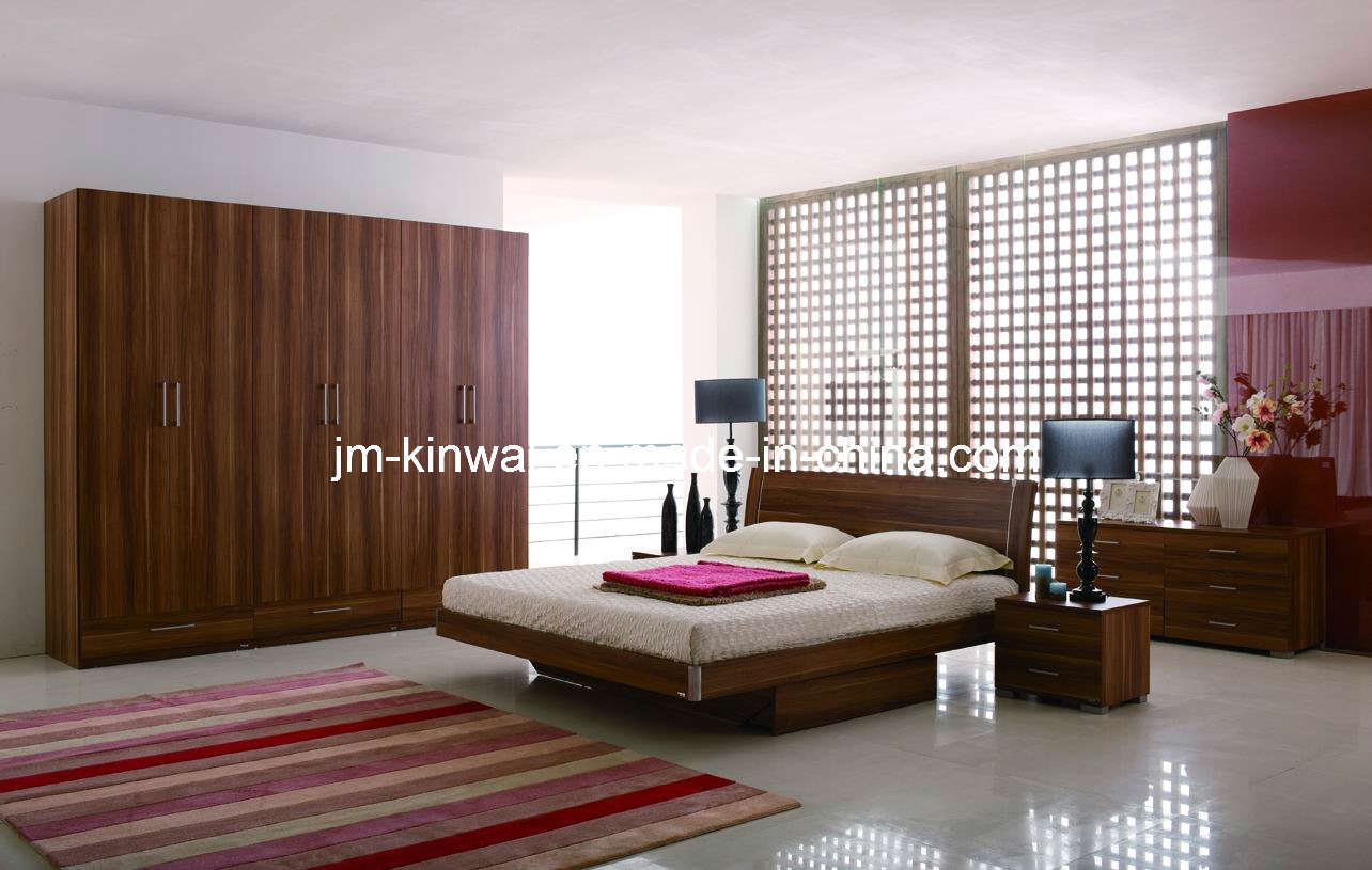 China Light Walunt Melamine Bed Bedroom Furniture China Bed Oak