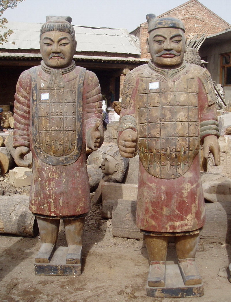 Wood Terracotta Warrior Sculpture Carving (B6-166)