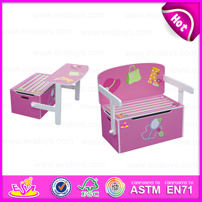 2015 Best Seller Cheap Kid Wooden Storage Box, Multifunction Wooden Toy Storage Box, Storage Box Can Change to Study Table W08g017