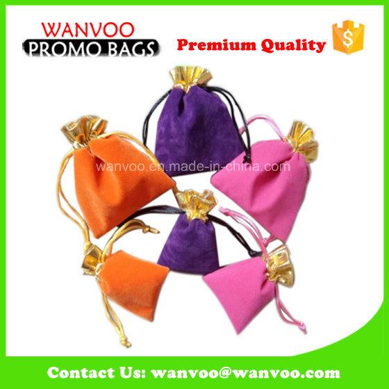 Eco-Friendly Promotion Drawstring Velvet Gift Bag for Jewelry