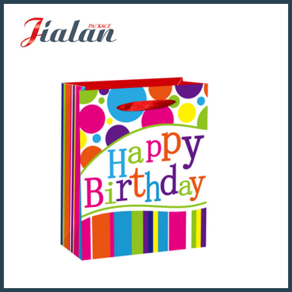 210GSM Glossy Laminated Ivory Paper Birthday Shopping Gift Paper Bag