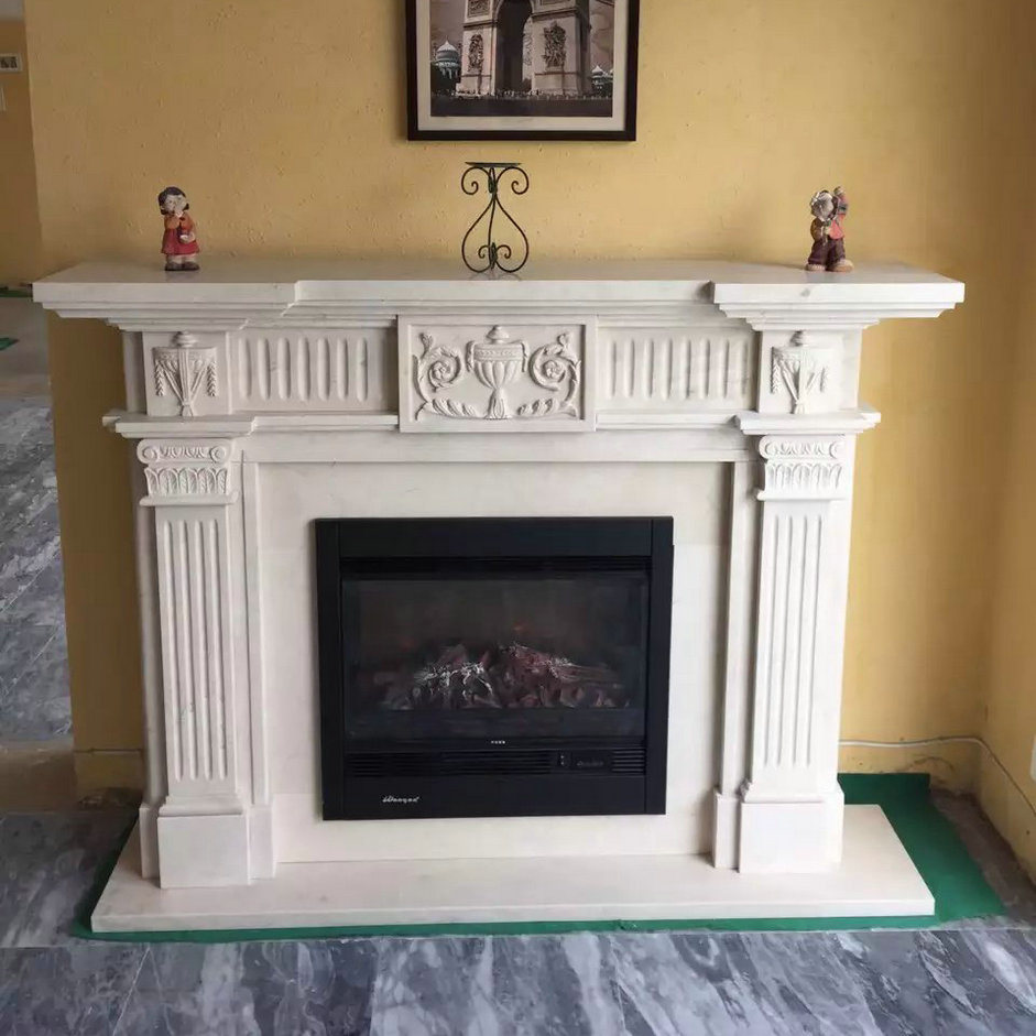 Natural Stone White Marble Fireplace for Indoor & Outdoor