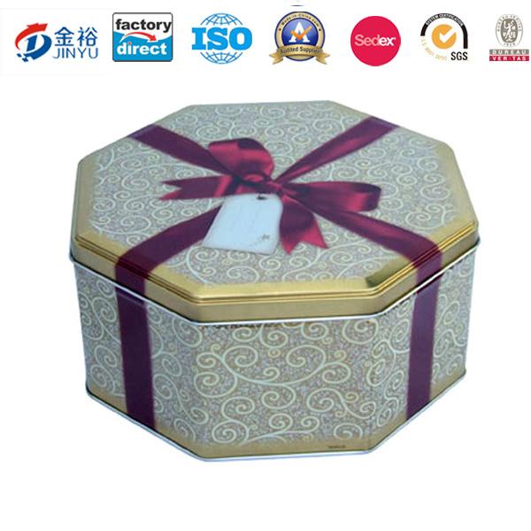 Metal Round Biscuit Cookie Food Box Tin Packaging