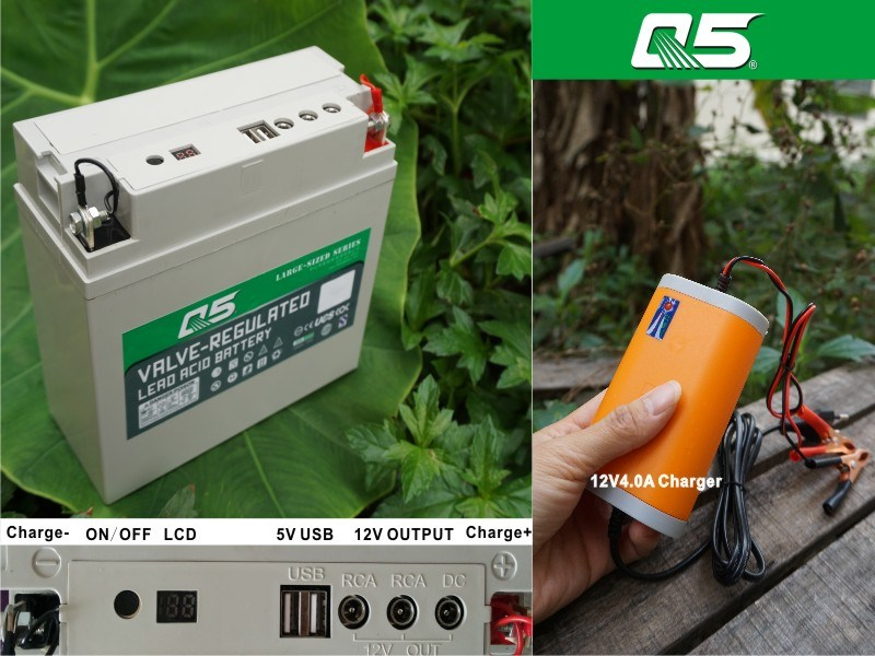 12V18AH The Battery Goes with Inverter Use (multipurpose)outdoor power supply plan of 12V low voltage solar USB charger 12 volt solar battery charger