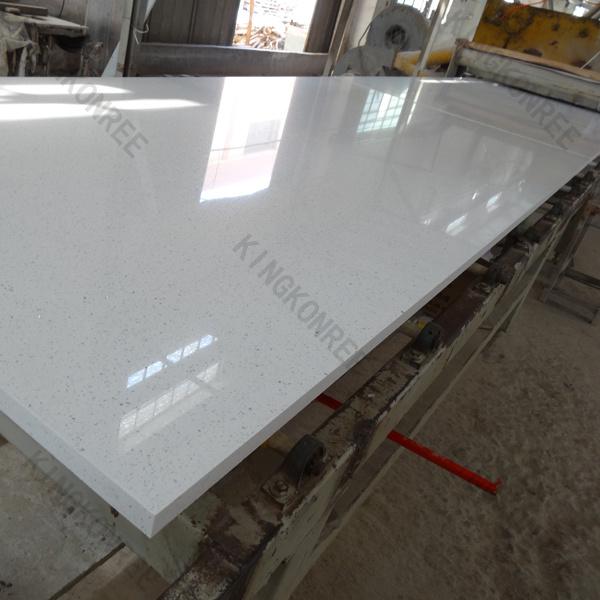 20mm Sparkle White Artificial Quartz Stone Floor Tile