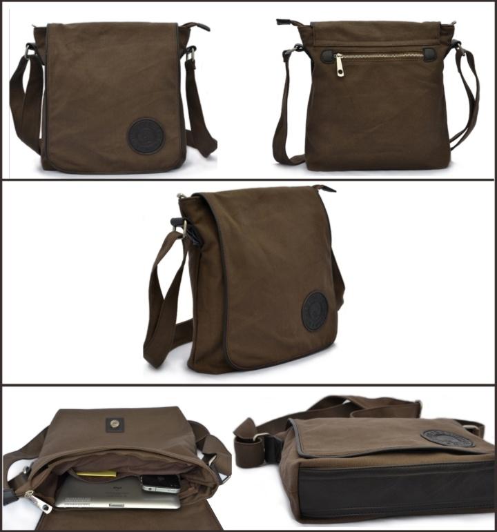 Vintage Fashion Genuine Leather Canvas Messenger Bag