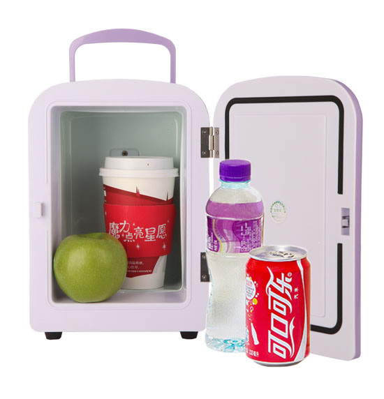 Portable Mini Fridge 4 Liter with DC12V, AC100-240V, Both in Cooling and Warming Function