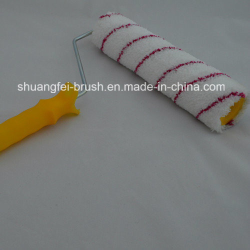 Red Strips Microfabric Paint Roller with Handle