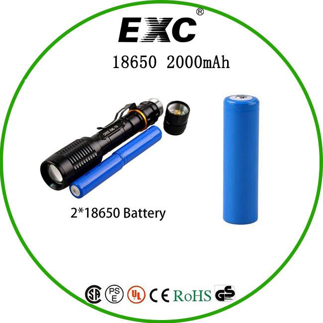 China Manufaturer 2000mAh 18650 3.7V Battery Li-ion 18650 Battery
