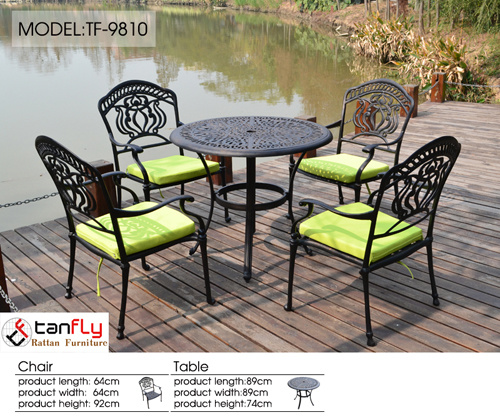 Heavy-Duty All Weather Resistant Round Dining Table and Chairs Outdoor Patio Garden Metal Cast