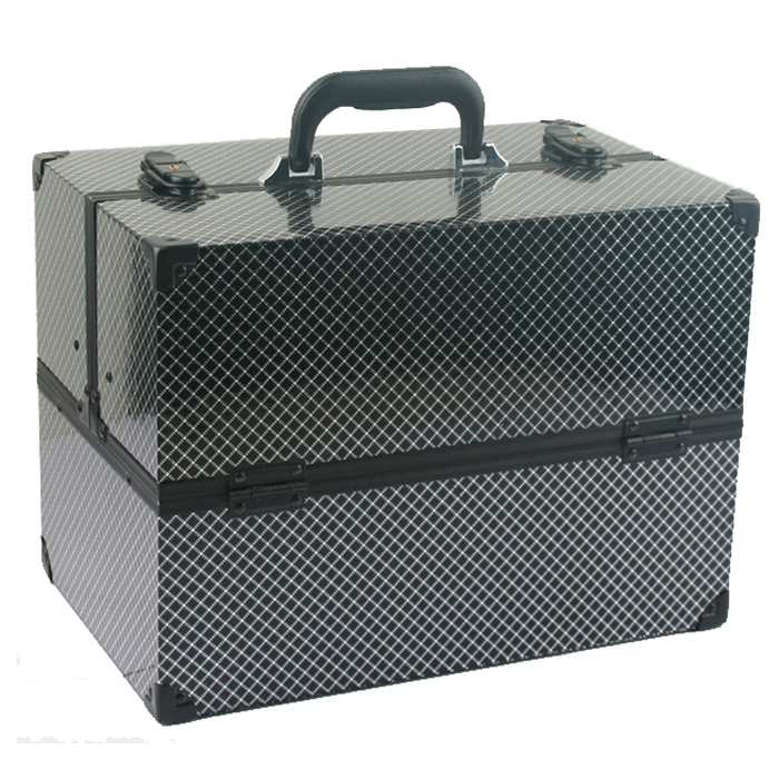 Portable Aluminium Cosmetic Case with Grid Pattern