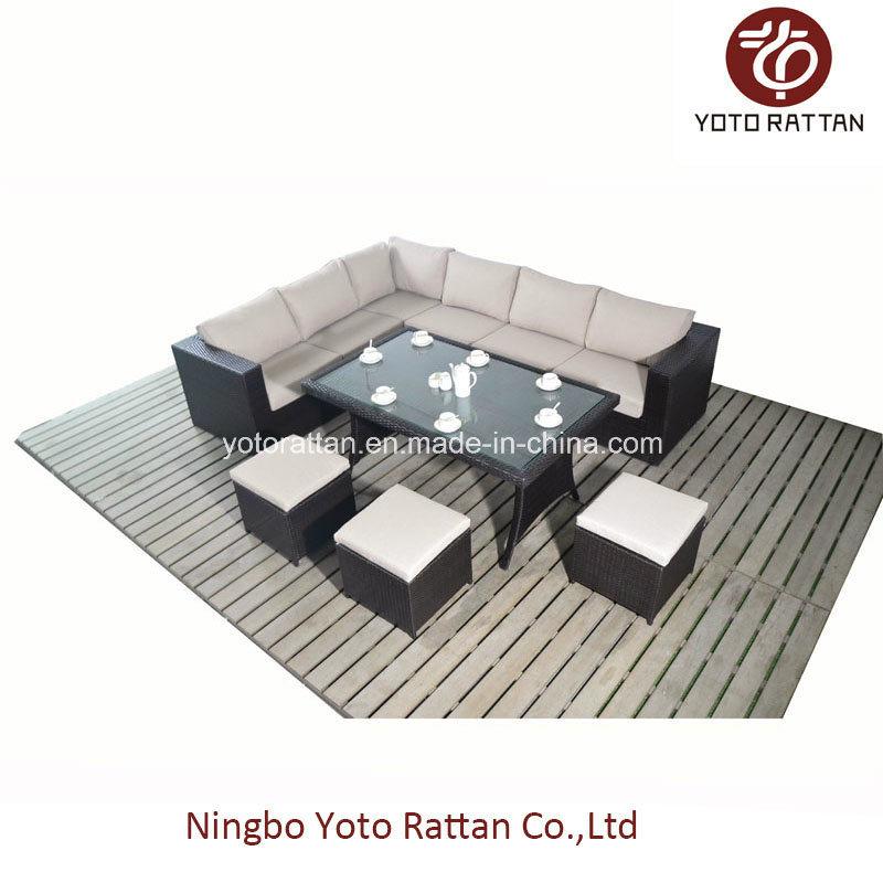 Steel Rattan Table Sofa Set (1104)
