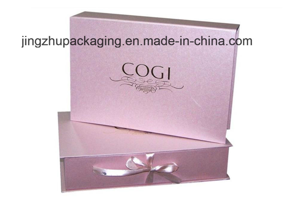 Pink Cosmetic/Gift Paper Packaging with Ribbon