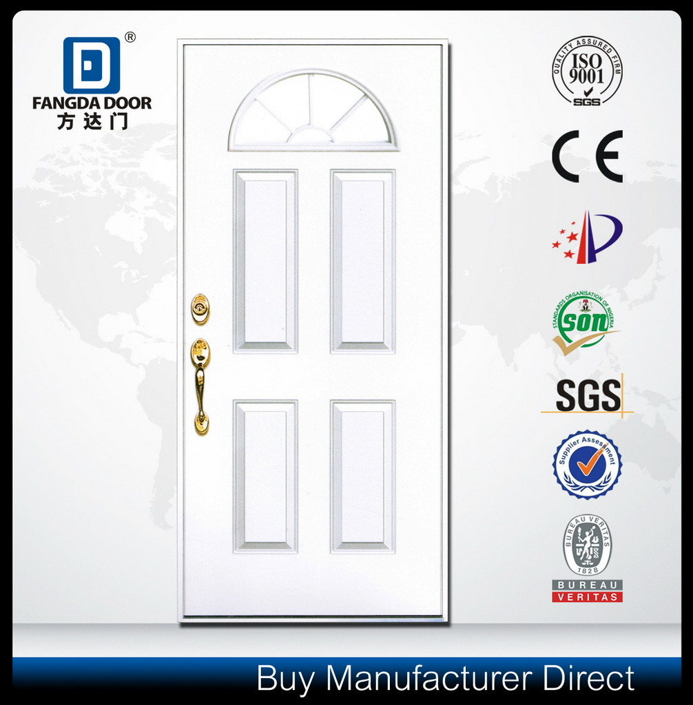 Luxury Exterior Fiberglass Fanlite Glass Door