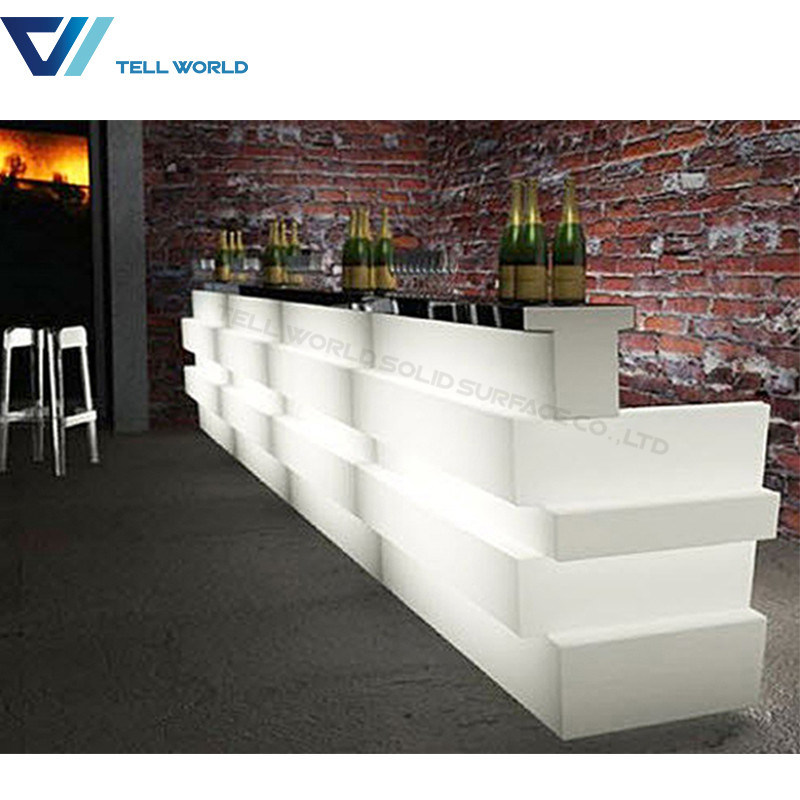 LED Hotel Artificial Marble Club Bar Counter