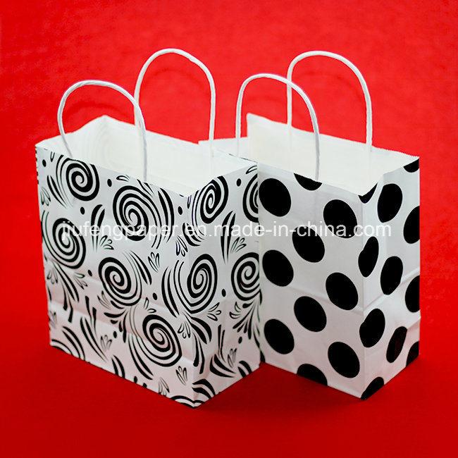 Printed White Kraft Paper Handbag