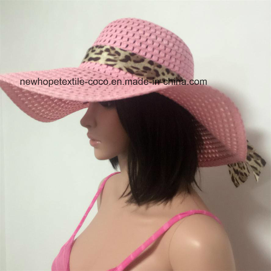 100% Straw Hat, Fashion Floppy Style with Ribbon Decoration