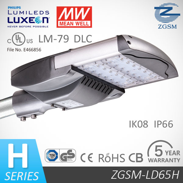 Philips or Bridgelux Chips 65W LED Street Light with 5 Years Warranty IP66 Ik10 Rating