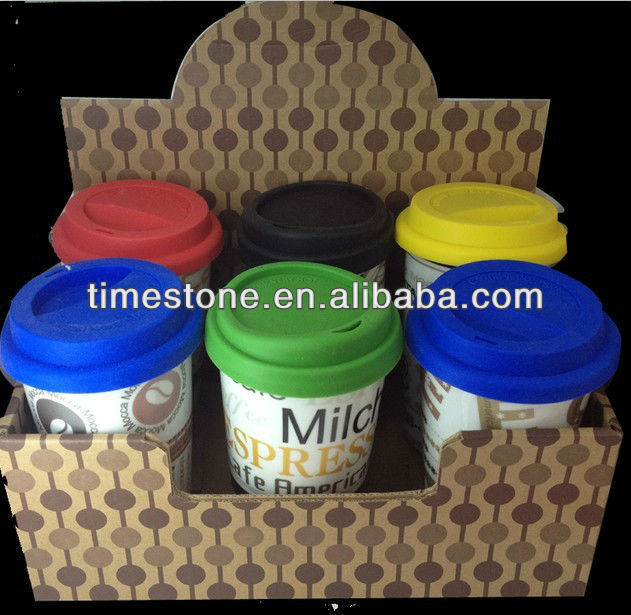 Ceramic Mug with Rubber Lid and Silicone Band, Coffee Mug Without Handle (082705)