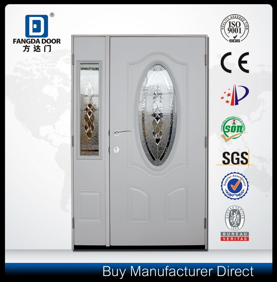 Unbreakable Front Door: China 3/4 Oval Unbreakable Tempered Glass Steel Mother And