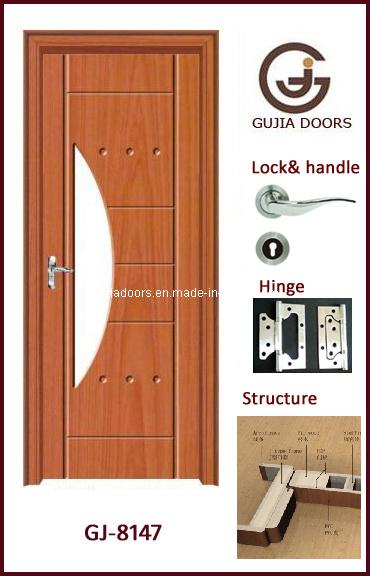 china new design interior pvc door with glass mdf wooden wooden and glass door designs