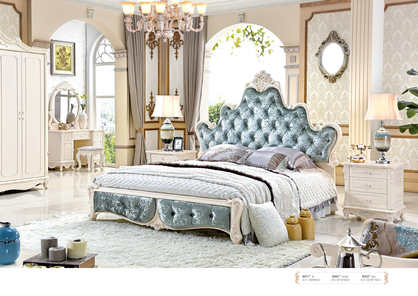 China French Luxury Royal Style White Leather Bed Bedroom Sets With White Solid Wood Furniture